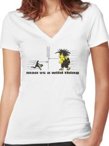 man vs a wild thing Women's Fitted V-Neck T-Shirt