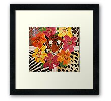 Tiger Surrounded By Hibiscus Framed Print
