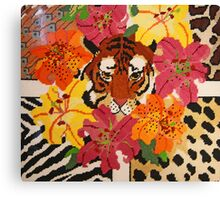 Tiger Surrounded By Hibiscus Canvas Print