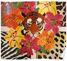 Tiger Surrounded By Hibiscus Poster