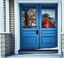 The Blue Doors - Reflections On a Cold Winters Day by T.J. Martin