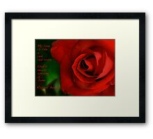 A Red, Red Rose, My Love Is Like Framed Print