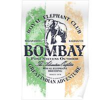 Bombay Elephant Club - India vintage flag Poster