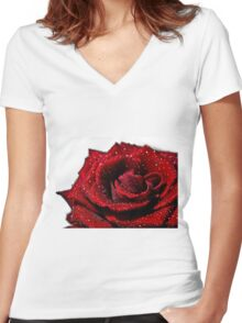 Bright Red Rose Women's Fitted V-Neck T-Shirt