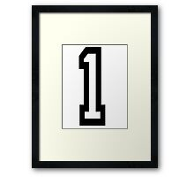 1, TEAM SPORTS, NUMBER 1, ONE, FIRST, Numero Uno, Uno, Ichi, Win, Winner, Competition Framed Print