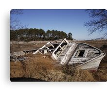 Old Boat Wreck on the Eastern Shore of VA Canvas Print