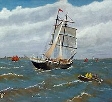 Schooner in the Herring Fleet. by WILT