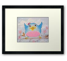Bluebird and friends 4 - Happy themed critter friends grouping intended for a childs room Framed Print