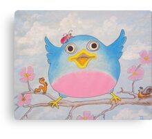 Bluebird and friends 4 - Happy themed critter friends grouping intended for a childs room Canvas Print