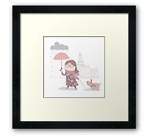 Happy girl in Paris Framed Print