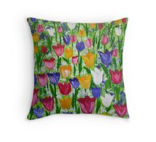 Tulips as far as you can see Throw Pillow