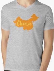 China (fancy) with country map Mens V-Neck T-Shirt