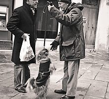 Venice: two men and a dog being pulled up by leash by Ron Greer