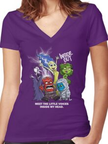 VOICES IN MY HEAD Women's Fitted V-Neck T-Shirt