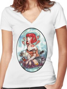 Videogame Babe Women's Fitted V-Neck T-Shirt