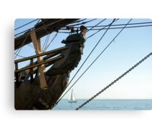 HMS Bounty figurehead with sailboat Canvas Print