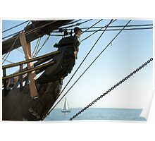 HMS Bounty figurehead with sailboat Poster