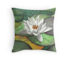 Water lily at Bodnant Gardens - Aquamarkers. Throw Pillow