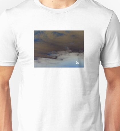 hope (clouded sky, white bird flying free) Unisex T-Shirt