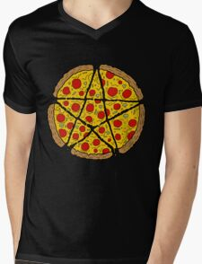 Satan Loves Pizza Mens V-Neck T-Shirt
