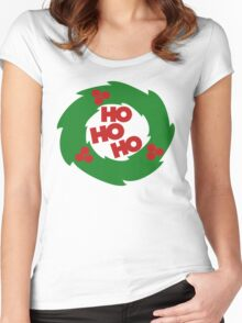 ho ho ho Christmas wreath Women's Fitted Scoop T-Shirt