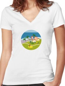 Sea And Golf Women's Fitted V-Neck T-Shirt