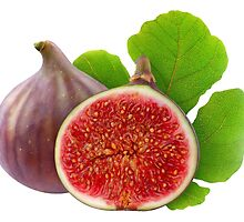 Fresh figs with leaf by 6hands