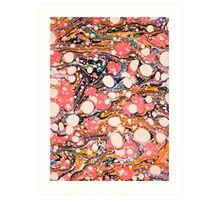 Psychedelic Retro Marbled Paper Art Print