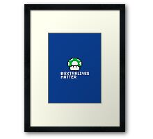 #Extra Lives Matter | Geek Gamer 1Up Mushroom with Slogan Framed Print
