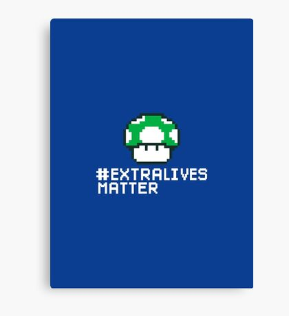 #Extra Lives Matter | Geek Gamer 1Up Mushroom with Slogan Canvas Print