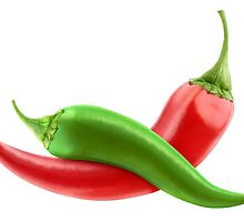 Red and green peppers by 6hands