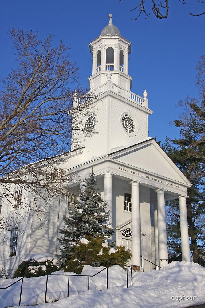 Winter White Small Town Church by daphsam