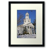 Winter White Small Town Church Framed Print