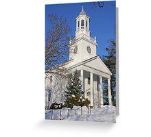 Winter White Small Town Church Greeting Card
