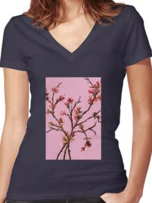 Cherry Blossoms from Amphai Women's Fitted V-Neck T-Shirt