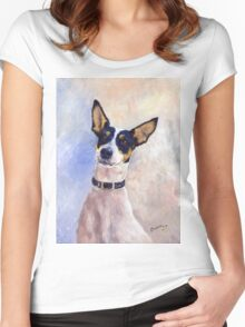 Daisy - Portrait of a Ratonero Bodeguero Andaluz Women's Fitted Scoop T-Shirt