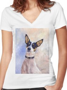 Daisy - Portrait of a Ratonero Bodeguero Andaluz Women's Fitted V-Neck T-Shirt