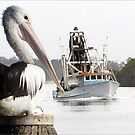 Pelican and Trawler by Mike Larder