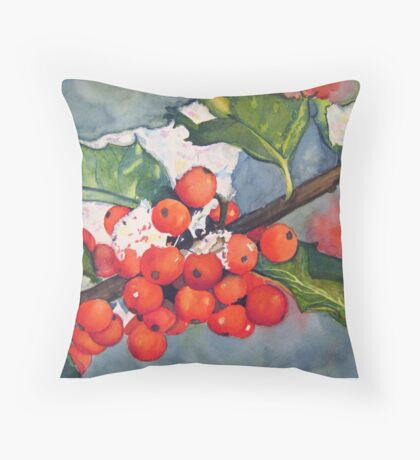Holly Berries in the Snow Throw Pillow