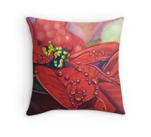 Poinsettia with dew drops Throw Pillow