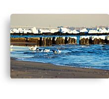 Snow On The Jetty Canvas Print