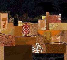 """Orange 7"" - Abstract structure on dark background. by Patrice Baldwin"