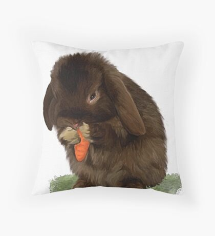 brown mini lop bunny Throw Pillow
