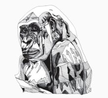 Gorilla Black Tonal Fineliner Drawing Kids Tee