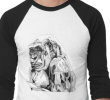 Gorilla Black Tonal Fineliner Drawing Men's Baseball ¾ T-Shirt