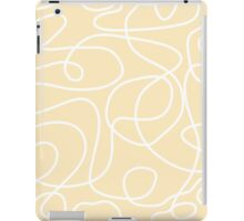 Doodle Line Art | White Lines on Soft Yellow Background iPad Case/Skin