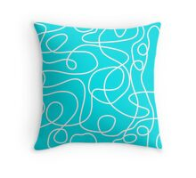 Doodle Line Art | White Lines on Turquoise Background Throw Pillow