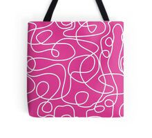 Doodle Line Art | White Lines on Hot Pink Background Tote Bag