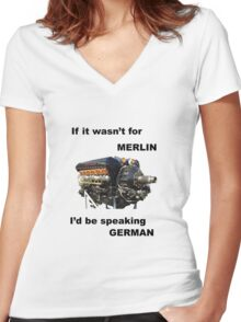 Ode to Rolls Royce Merlin Engine Women's Fitted V-Neck T-Shirt