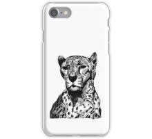 Cheetah Black Tonal Fineliner Drawing iPhone Case/Skin